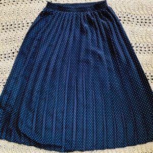 Vintage Navy Blue Polka Dot Pleated Midi Skirt